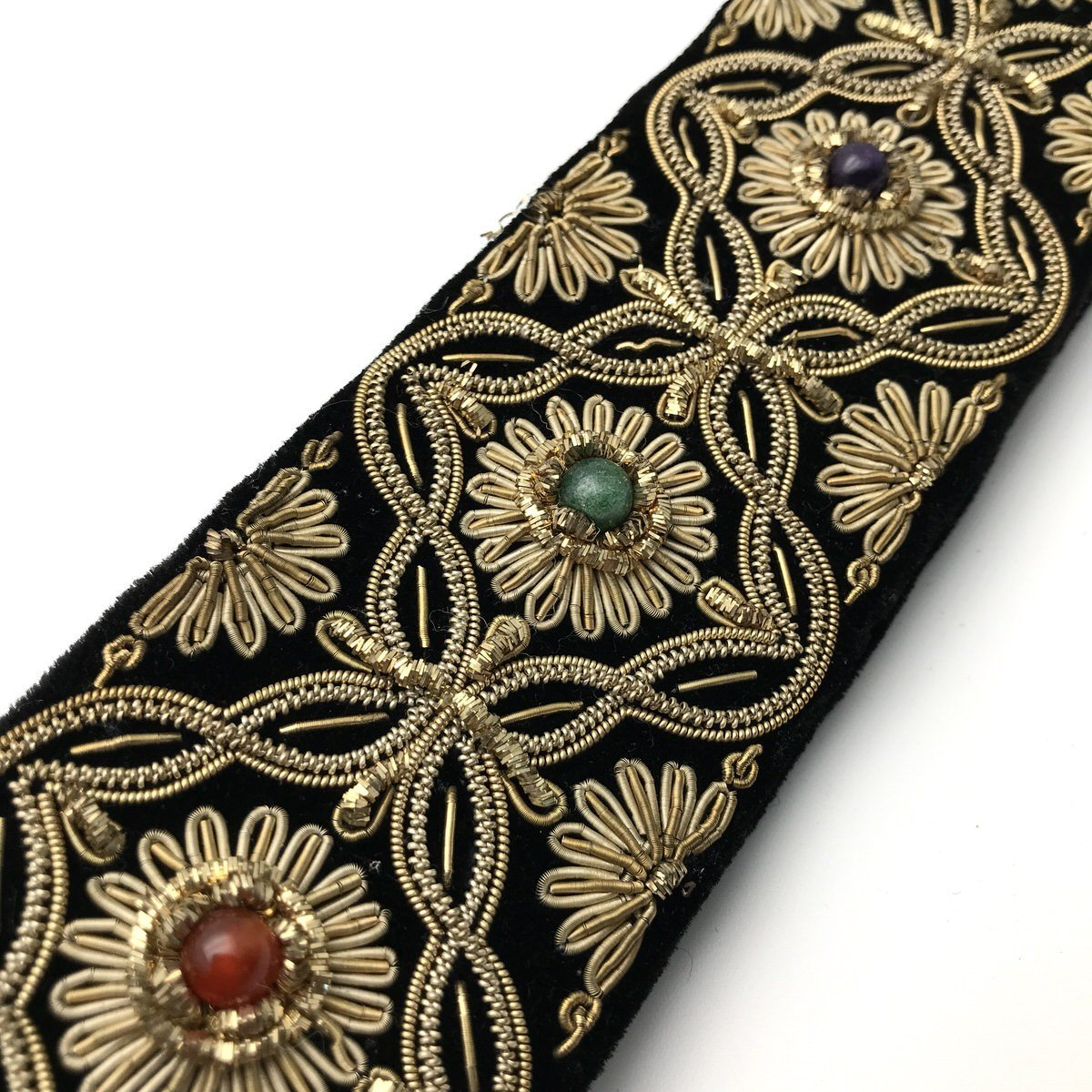 Art Deco Inspired Handmade Embroidered Belt With Gemstones Vintage 1930s To 1980s