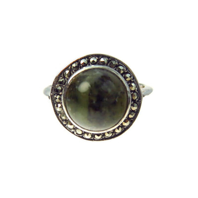 Art Deco Labradorite Marcasite Dome Sterling Ring Art Deco, 1920s to 1930s