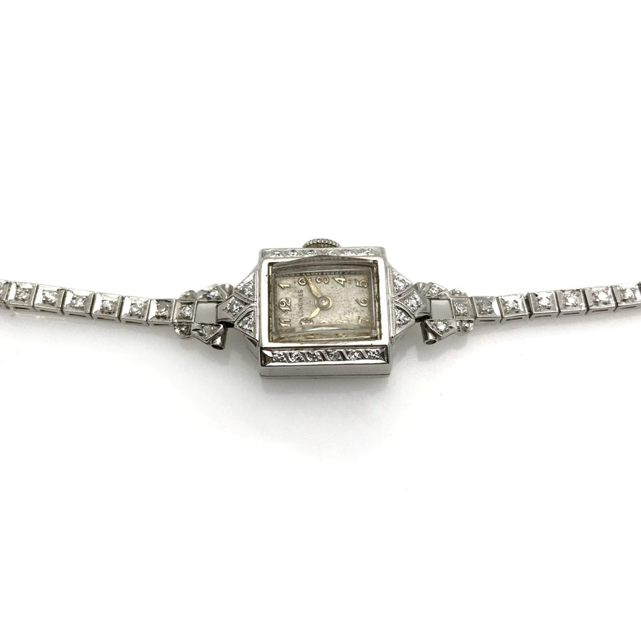 Art Deco Longines Watch White Gold Platinum Diamonds 0.75 Cts Art Deco, 1920s to 1930s