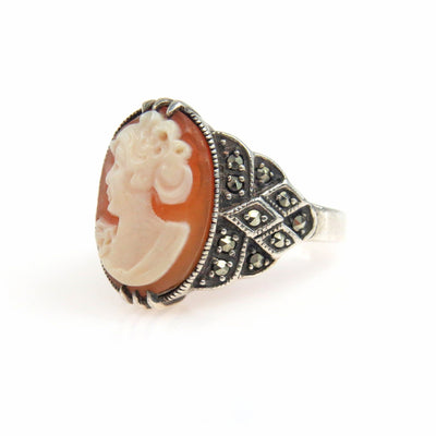 Art Deco Sterling Silver Marcasite Cameo Ring Art Deco, 1920s to 1930s