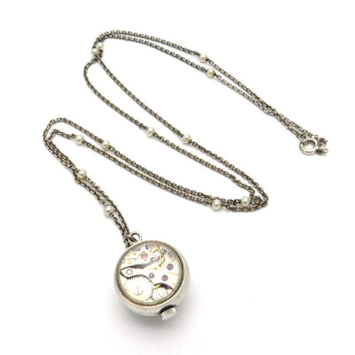 Art Deco Swiss Made Gubelin Ball Watch Pendant Necklace Art Deco, 1920s to 1930s