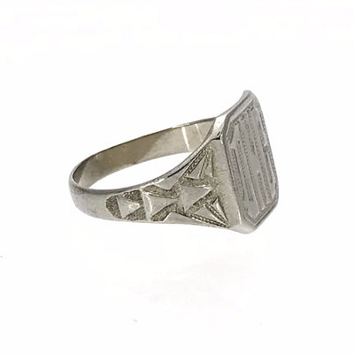 Art Deco White Gold Signet Ring Art Deco, 1920s to 1930s