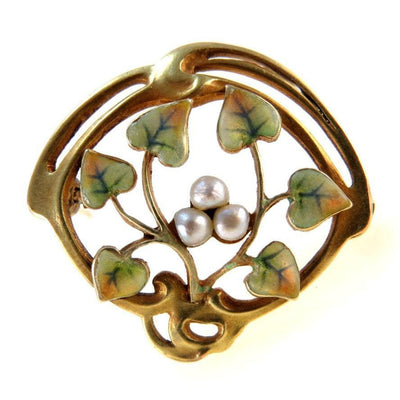 Art Nouveau 14k Gold Enamel Seed Pearl Brooch Bippart & Co Art Nouveau, 1895 to 1920s