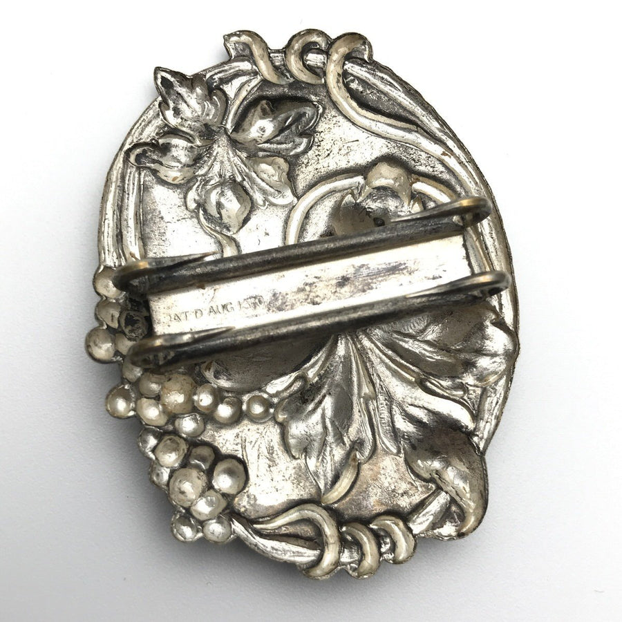 Art Nouveau Silver Plate Sash or Scarf Buckle Art Nouveau, 1895 to 1920s