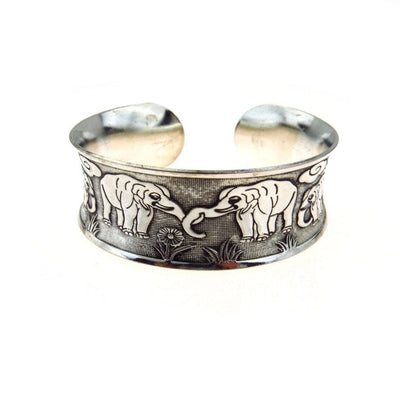 Asian Elephants Silver Cuff Bracelet Vintage, 1930s to 1980s