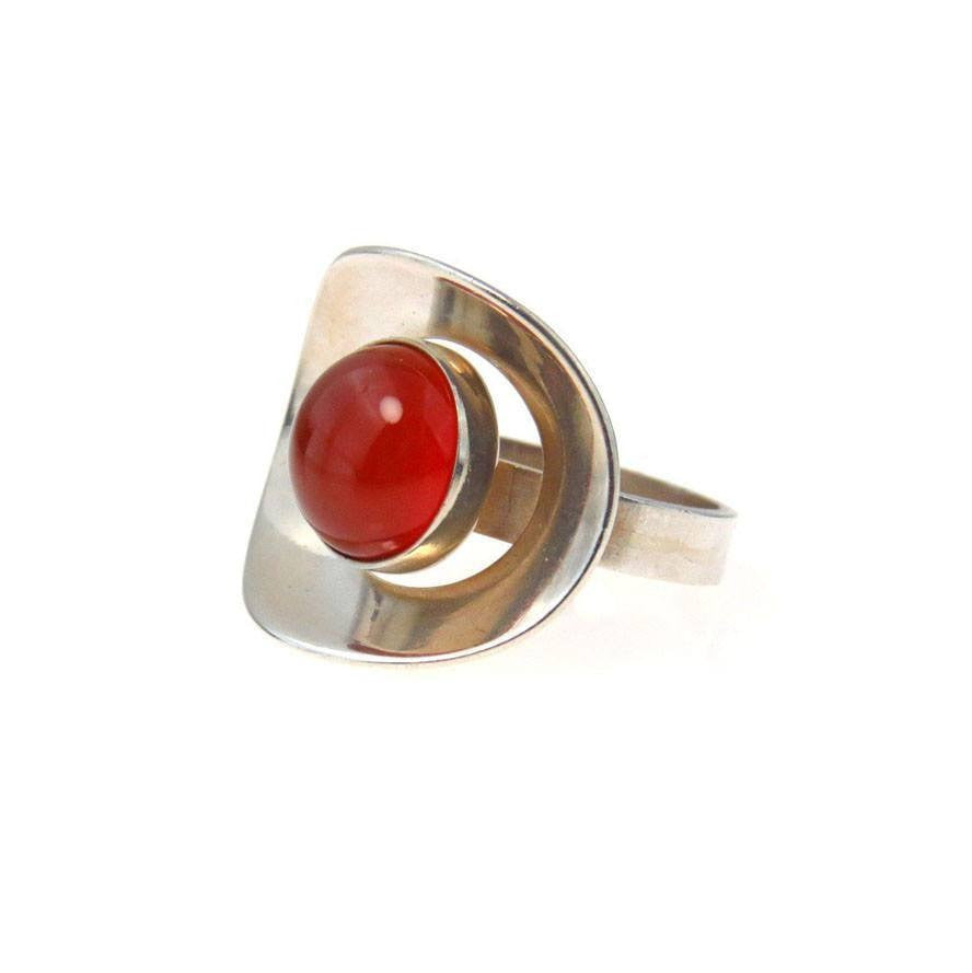 Asymmetrical Modernist Ring Sterling Silver and Carnelian Vintage, 1930s to 1980s