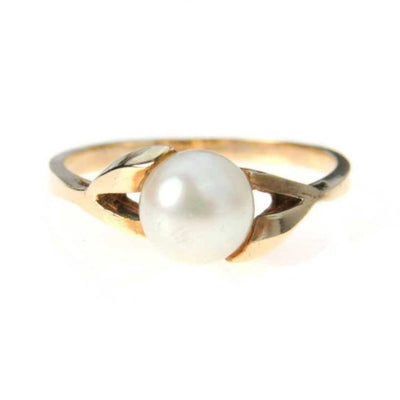 Asymmetrical Pearl Solitaire Ring 10k Gold Vintage, 1930s to 1980s