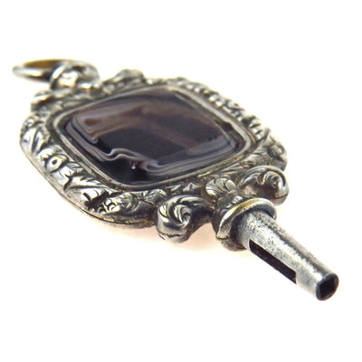 Banded Agate Silver Antique Pocket Watch Key Fob Victorian, 1830s to 1900s