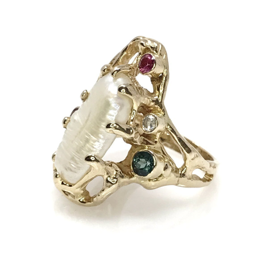 Modernist Brutalist Pearl Diamond Gold Ring