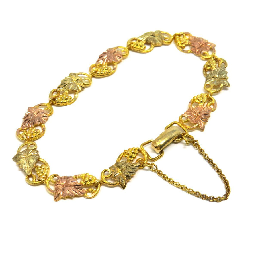 Black Hills Gold Grape Leaf Link Bracelet