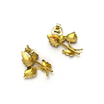 Black Hills Gold Leaf Branch Post or Stud Earrings Vintage, 1930s to 1980s
