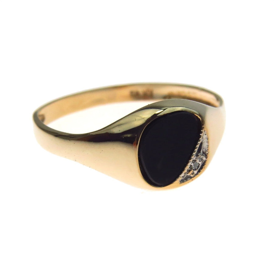 Black Onyx Diamond Gold Men's Signet Ring