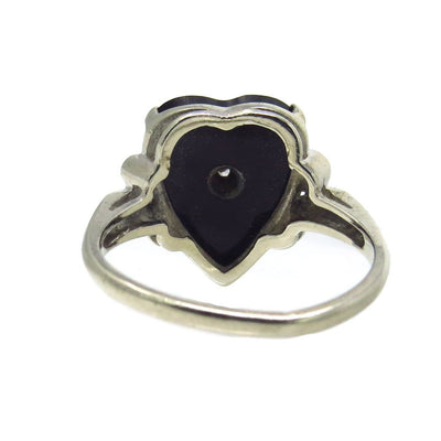 Black Onyx Heart Diamond Gold Ring Vintage, 1930s to 1980s