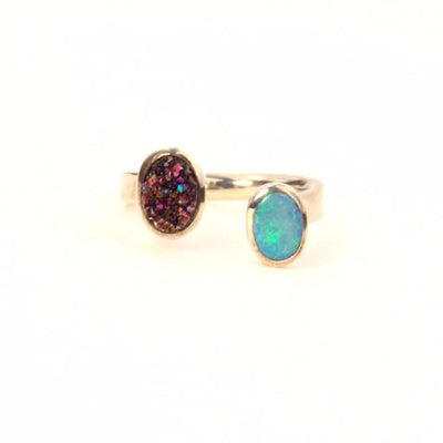 Blue Opal Titanium Drusy Sterling Wrap Ring Split Setting Contemporary, Post 1990