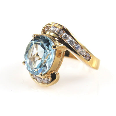 Bold Blue Topaz Vermeil Ring Contemporary, Post 1990
