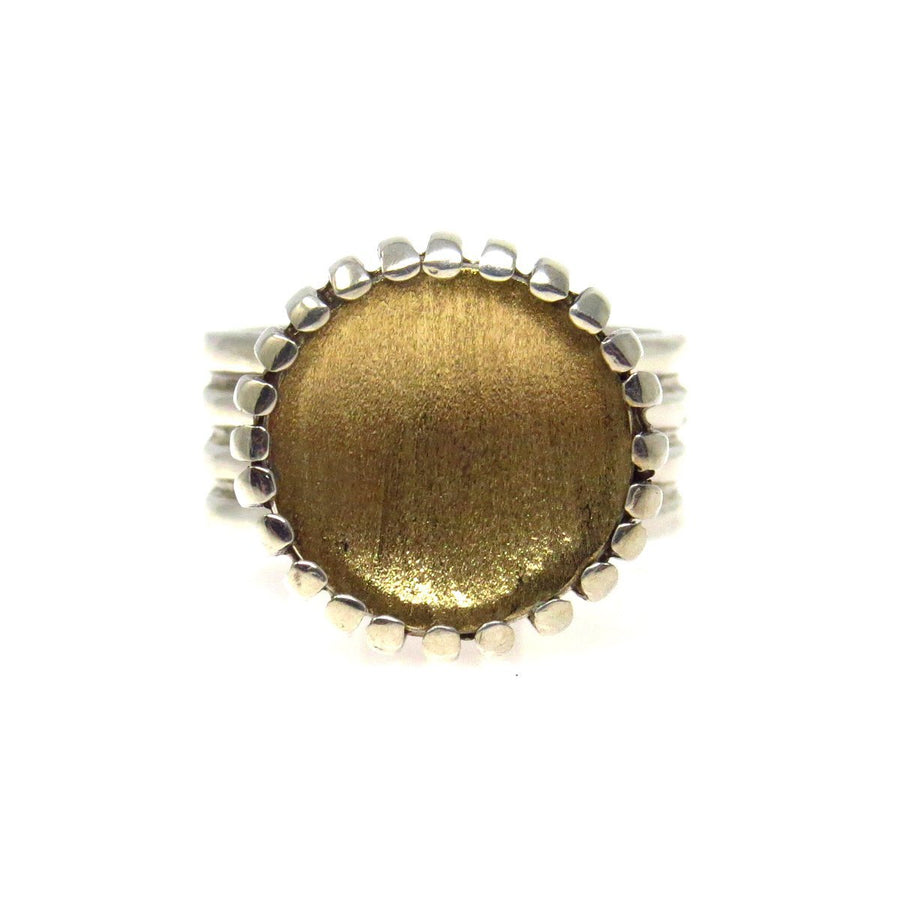 Bold Minimalist 14k Gold & Sterling Reversed Dome Ring Contemporary, Post 1990