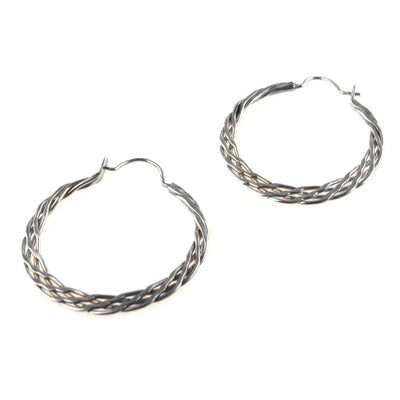 Braided Sterling Silver Hoop Earrings Vintage, 1930s to 1980s
