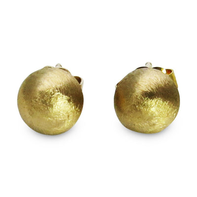 Brushed 14k Gold Round Stud Earrings Vintage, 1930s to 1980s