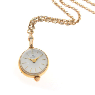 Bucherer Ball Watch Pendant and Watch Chain Necklace Vintage, 1930s to 1980s