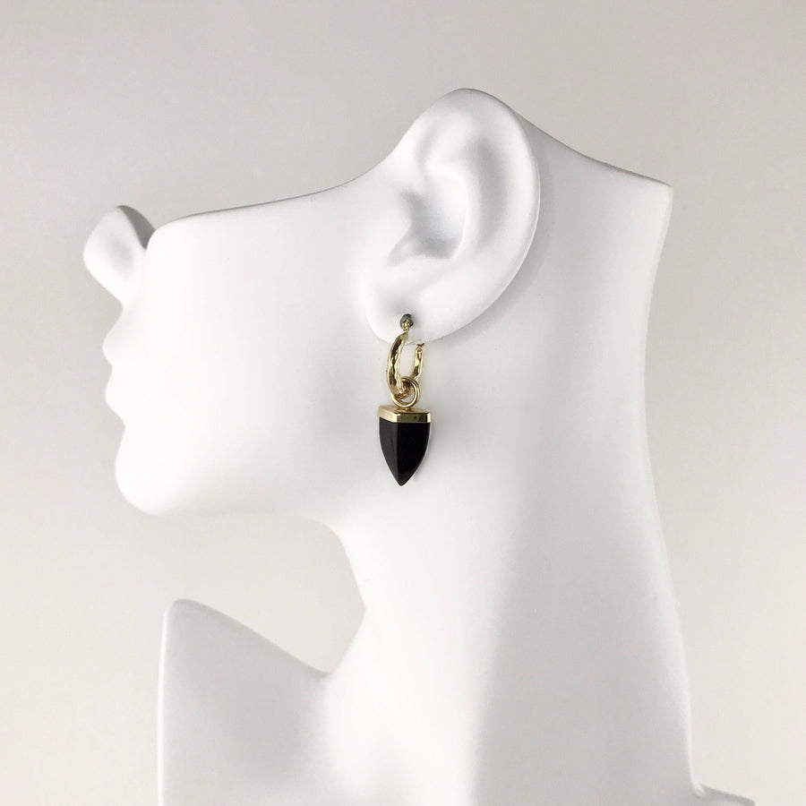 Carved Black Onyx Spear Earring Charms