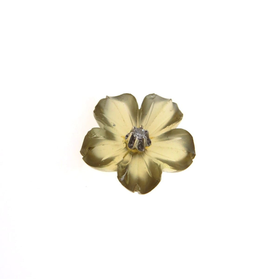 Carved Lemon Citrine Diamond 14k Gold Flower Tie Tack or Pin Vintage, 1930s to 1980s