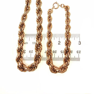 Chunky Graduated Gold Rope Chain Necklace Bracelet Set Vintage, 1930s to 1980s