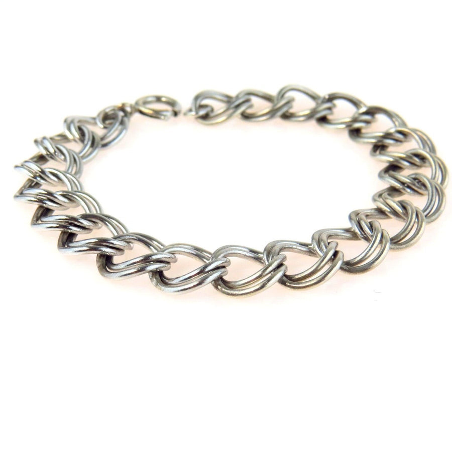Chunky Sterling Silver Double Curb Chain Bracelet Vintage, 1930s to 1980s