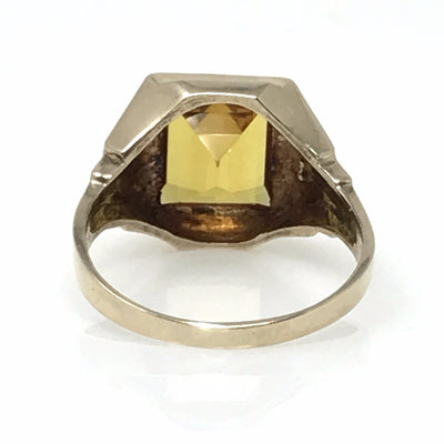 Citrine Yellow Gold Signet Ring Vintage, 1930s to 1980s