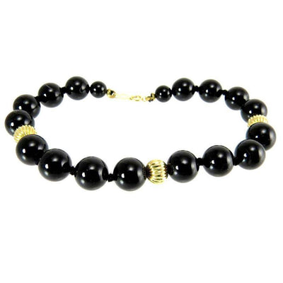 "Classic Black Onyx 14k Gold Beaded Bracelet 6.5"" Vintage 1980s PreAdored™"