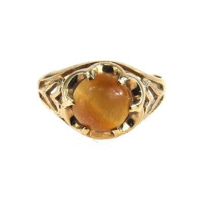 Claw Setting Chrysoberyl Cat's Eye Gold Ring Vintage, 1930s to 1980s