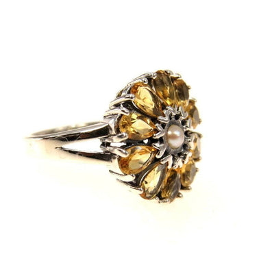 Contemporary Citrine Sterling Flower Ring Pearl Center Contemporary, Post 1990