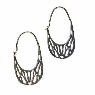 Cut Out Sterling Silver Hoop Earrings Vintage, 1930s to 1980s