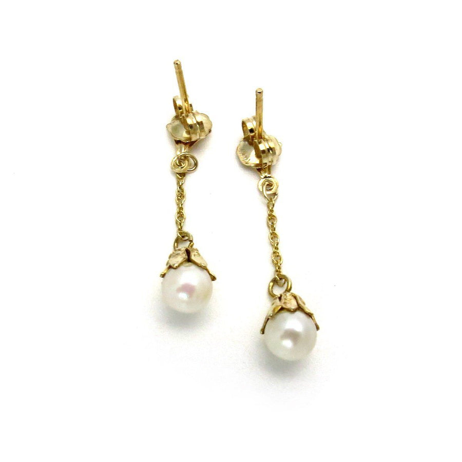 Dainty Pearl Linear Drop Earrings Vintage, 1930s to 1980s