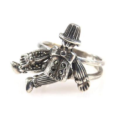 Dancing Boy Sterling Silver Ring Movable Arms and Legs Vintage, 1930s to 1980s