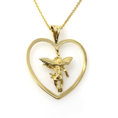 Dancing Cupid in a Heart Gold Pendant Necklace Vintage, 1930s to 1980s