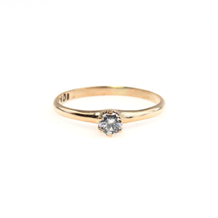 07677c8aba6 Delicate Diamond Solitaire Gold Ring Vintage