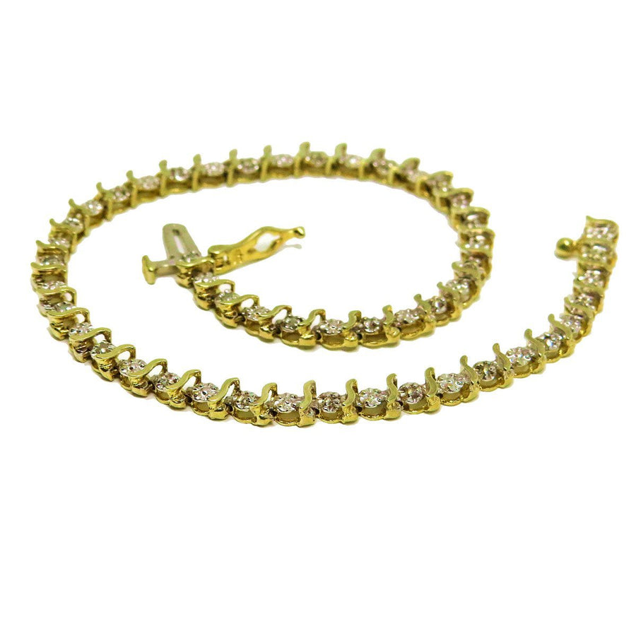 Diamond Gold S Link Line Bracelet
