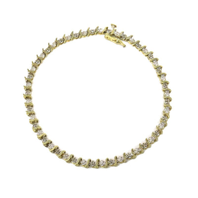 Diamond Gold S Line Bracelet Contemporary, Post 1990