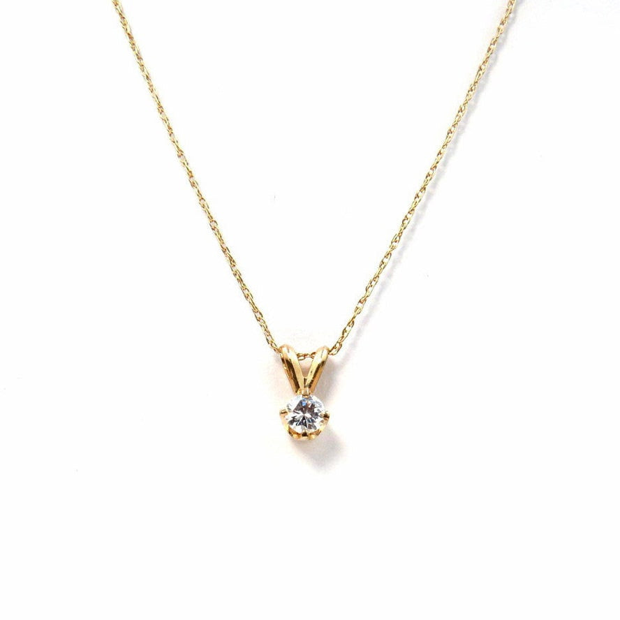 Diamond Solitaire Pendant 0.25 Cts 14k Gold Vintage, 1930s to 1980s