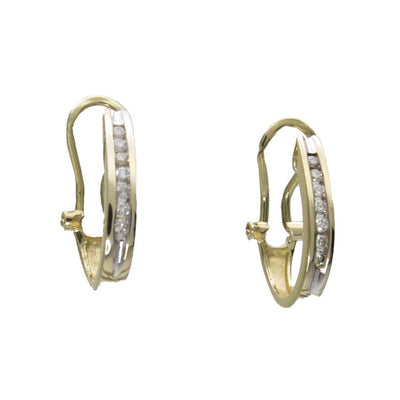 Diamonds 14k Gold Hoop Earrings Omega Clips Vintage, 1930s to 1980s