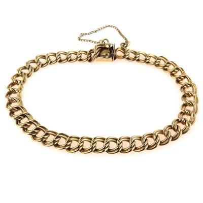 Double Link Curb Chain Gold Filled Bracelet Vintage, 1930s to 1980s