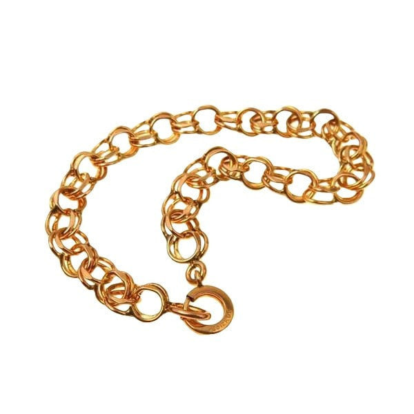 Double Link Starter Charm Chain Bracelet Gold Fill Art Deco, 1920s to 1930s