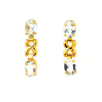Double Topaz Figure 8 Link 14k Gold Earrings Contemporary, Post 1990