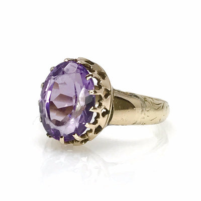 Edwardian Crown Setting Amethyst Gold Ring Edwardian, 1901 to 1920s