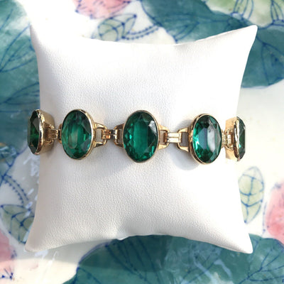 Emerald Glass Large Oval Stone Link Gold Filled Bracelet Retro, 1940s