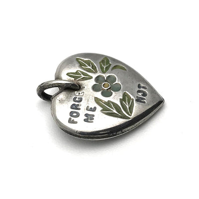Enamel Forget Me Not Sterling Silver Victorian Puffy Heart Charm Victorian, 1830s to 1900s