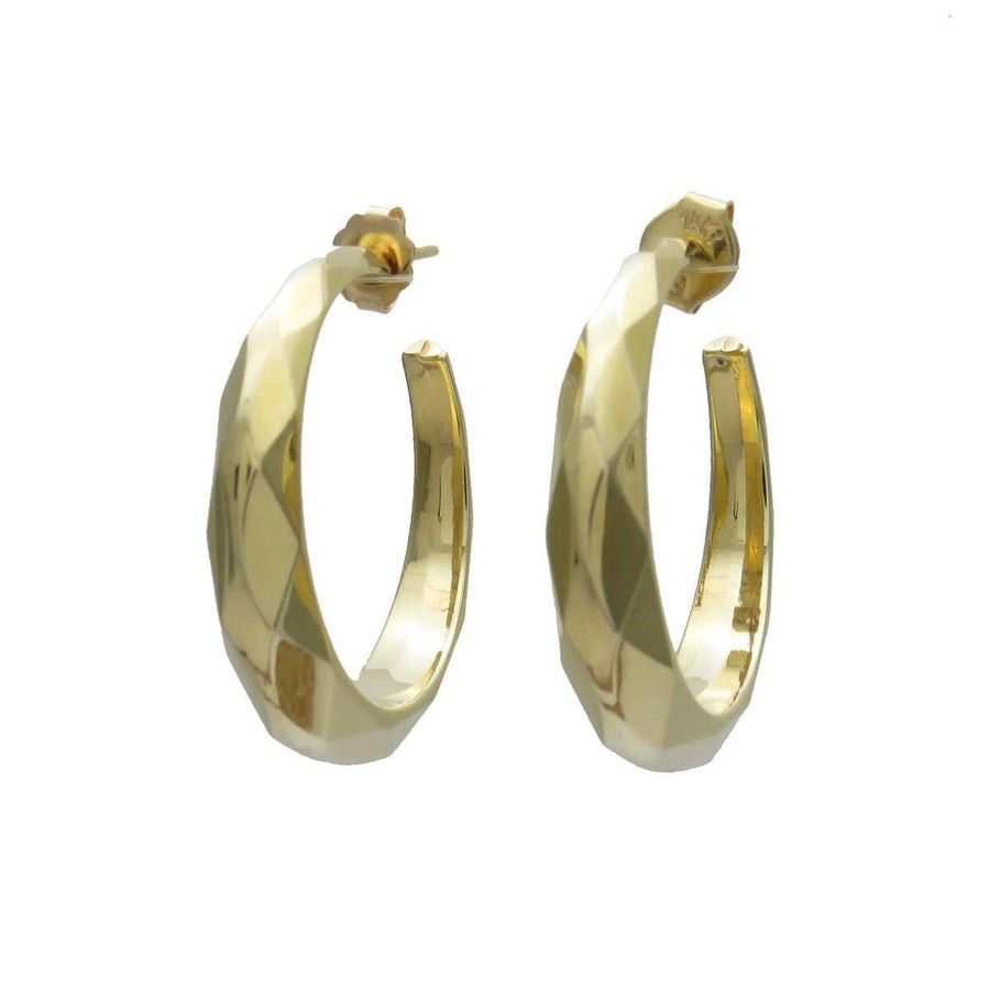 "Faceted 14k Gold Hoop Statement Earrings 1 3/16"" Vintage, 1930s to 1980s"