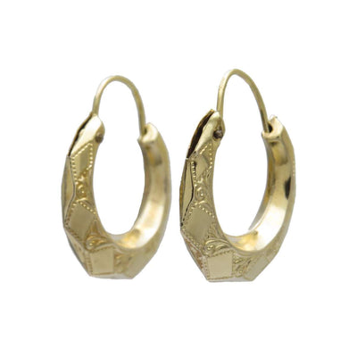Faceted Engraved 14k Gold Petite Hoop Earrings Vintage, 1930s to 1980s