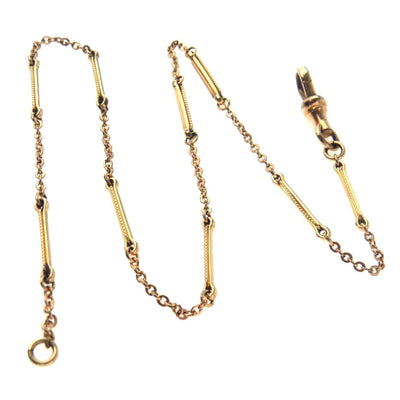 Fancy Bar Link Gold Filled Watch Chain Choker Necklace Victorian, 1830s to 1900s
