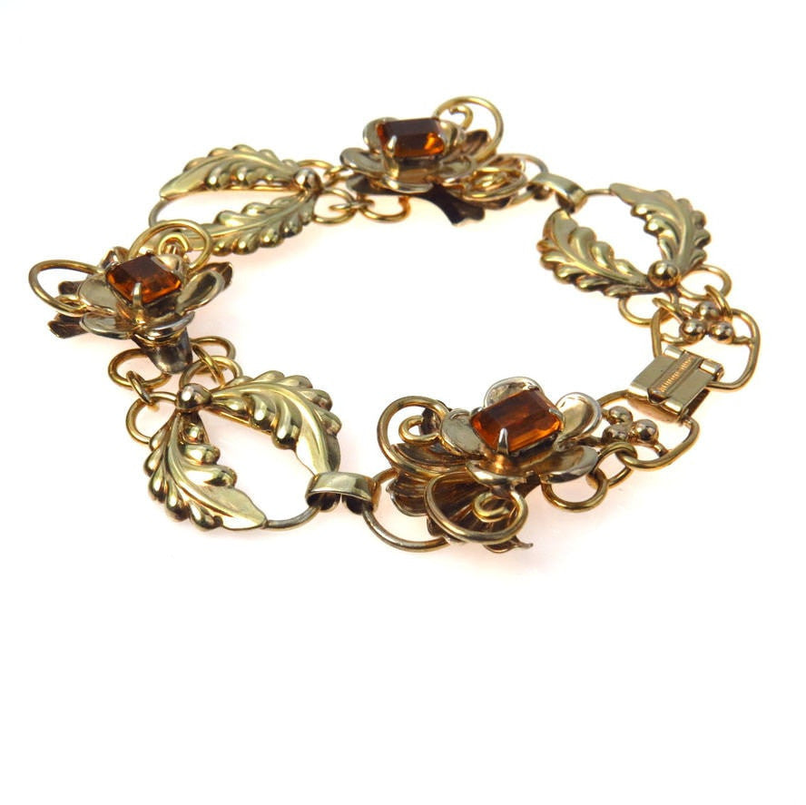 Fancy Link Gold Filled Bracelet Vintage, 1930s to 1980s